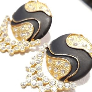 Yin Yang Black and Gold Crystal Earrings
